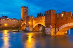 Castelvecchio at night in Verona, Italy. Stock Image
