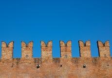 The Castelvecchio Old castle brick wall, Verona, Italy - Image. The view of Castelvecchio Old castle brick wall, Verona, Italy - Image royalty free stock photo