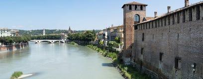 Castelvecchio panorama Arkivfoton