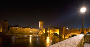 Castelvecchio by Night (1357) - Verona Italy Stock Photography