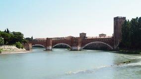 Castelvecchio scaliger bridge adige river Verona. Castelvecchio scaliger bridge on adige river Verona stock video footage