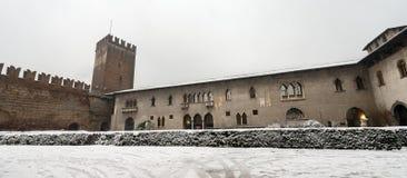 Castelvecchio with snow - Old Castle Verona Italy stock image
