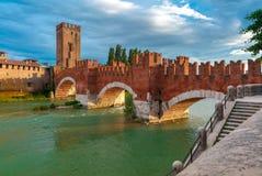 Castelvecchio at sunset in Verona, Italy. Stock Photos