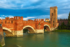 Castelvecchio at sunset in Verona, Italy. Royalty Free Stock Images