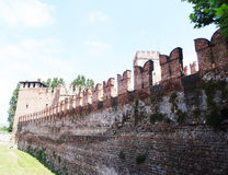 Castelvecchio wall , Verona - Italy. Verona is a city straddling the Adige river in Veneto, northern Italy. It is one of the main tourist destinations in Stock Images