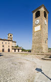 Castelvetro. View of the main square and of the Medieval clock tower of Castelvetro, Modena, Italy Royalty Free Stock Image