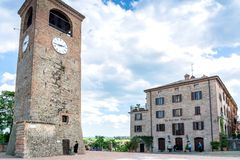Main square and medieval buildings in Castelvetro di Modena, Italy stock images
