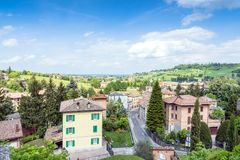 Castelvetro, Italy. Top view from main square stock images