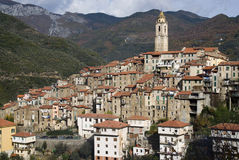 Castelvittorio. Ancient village of Italy Stock Photos