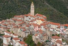 Castelvittorio Vila antiga, província dos impérios, Itália Imagem de Stock Royalty Free