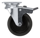Caster. A caster wheel in white back stock photo