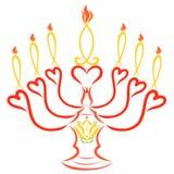 Castiçal com a imagem de um lírio, de corações e de sete velas mim ilustração do vetor