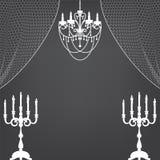 Castiçal, cortinas e candelabro ilustração royalty free