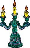 Castiçal da ilustração com três velas ardentes Foto de Stock Royalty Free