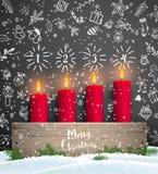 Castiçal de madeira do advento rústico do Natal com velas ilustração stock