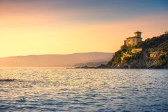 Castiglioncello coast, cliff rock and sea. Tuscany, Italy. Castiglioncello coast, cliff rock and sea. Tuscany, Italy, Europe Stock Images
