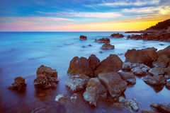 Castiglioncello rock and sea on sunset. Tuscany, Italy. Stock Photo