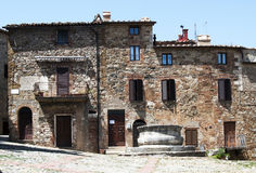 Castiglione d'Orcia square - Tuscany, Italy Stock Photo
