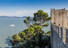 Castiglione del lago, Trasimeno,意大利城堡  库存图片