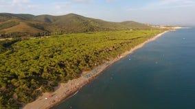Castiglione della Pescaia sea aereal drone view stock footage