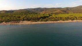Castiglione della Pescaia sea aereal drone view stock video footage
