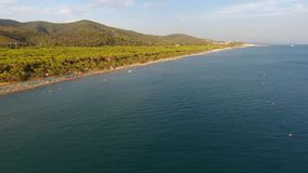Castiglione della Pescaia sea aereal drone view stock video