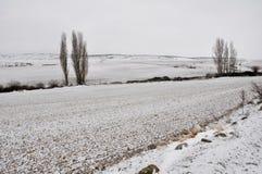 Castilian landscape at winter, Spain Stock Photos