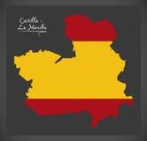 Castilla - La Mancha map with Spanish national flag illustration Royalty Free Stock Image