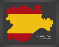 Castilla y Leon map with Spanish national flag illustration Royalty Free Stock Photos