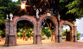 Castillan arch. Tipical spanish architecture, enter of park in a spànish city. Alameda's park Royalty Free Stock Photos