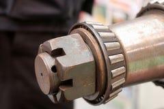Castillated nut on shaft Stock Photo