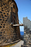 Castillo του Ατλαντικού Ωκεανού arrecife Lanzarote   las coloradas Στοκ Εικόνες