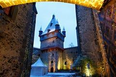 Castillo alemán del cuento de hadas en paisaje del invierno Castillo Romrod en Hesse, Alemania Imagen de archivo