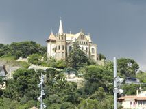 Castillo antiguo en la ciudad vieja en Barcelona Imagen de archivo
