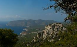 Castillo arruinado de Monolithos en la isla de Rodas Imagen de archivo libre de regalías