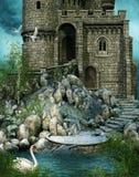Castillo arruinado por un lago ilustración del vector