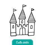 Castillo blanco y negro del cuento de hadas para una princesa ilustración del vector