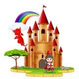 Castillo con el dragón y un caballero ilustración del vector