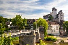 Castillo Díez sobre el río Lahn imágenes de archivo libres de regalías
