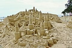 Castillo de arena asombroso en Sentosa Fotos de archivo libres de regalías