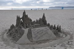 Castillo de arena en el del Coronado del hotel en California Fotografía de archivo