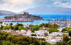 Castillo de Bodrum y Mar Egeo fotografía de archivo