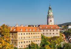 Castillo de Cesky Krumlov en Bohemia del sur imagenes de archivo