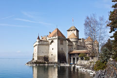 Castillo de Chillon, lago geneva, Suiza Foto de archivo libre de regalías