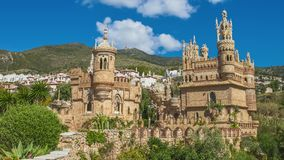 Castillo de Colomares. With clouds. It is a monument similar to a fairytale castle, dedicated to Christopher Columbus. Benalmadena, near Malaga in Andalusia royalty free stock photo