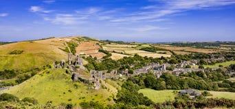 Castillo de Corfe en Dorset imagen de archivo