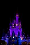 Castillo de Disney en la noche Fotos de archivo libres de regalías