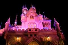 Castillo de Disneylandya con la decoración de la Navidad Fotos de archivo libres de regalías