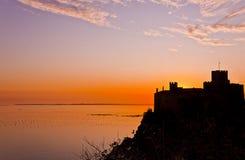 Castillo de Duino en la puesta del sol Fotografía de archivo libre de regalías
