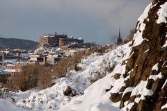 Castillo de Edimburgo del parque de Holyrood fotografía de archivo